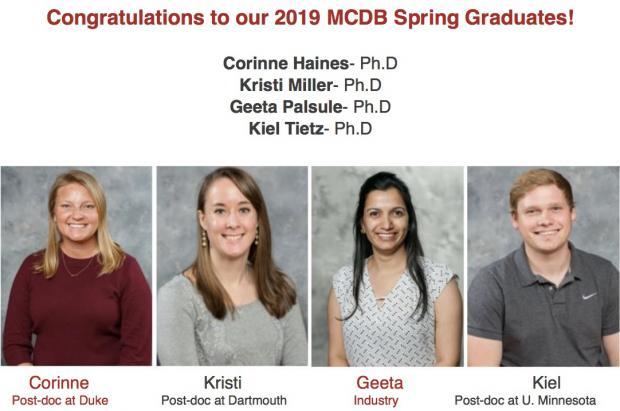 MCDB Spring 2019 Graduates